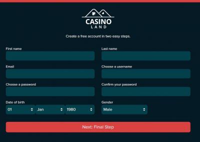 Casinoland-Registration-page