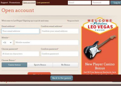 Leovegas registration