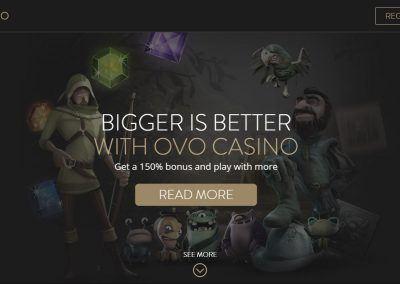 OVO Casino - Landing page