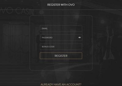 OVO Casino - Registration page