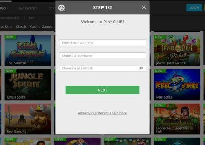 Play Club - Registration page