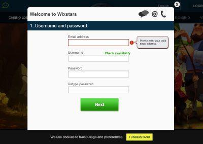 Wixstars - Registratiepagina