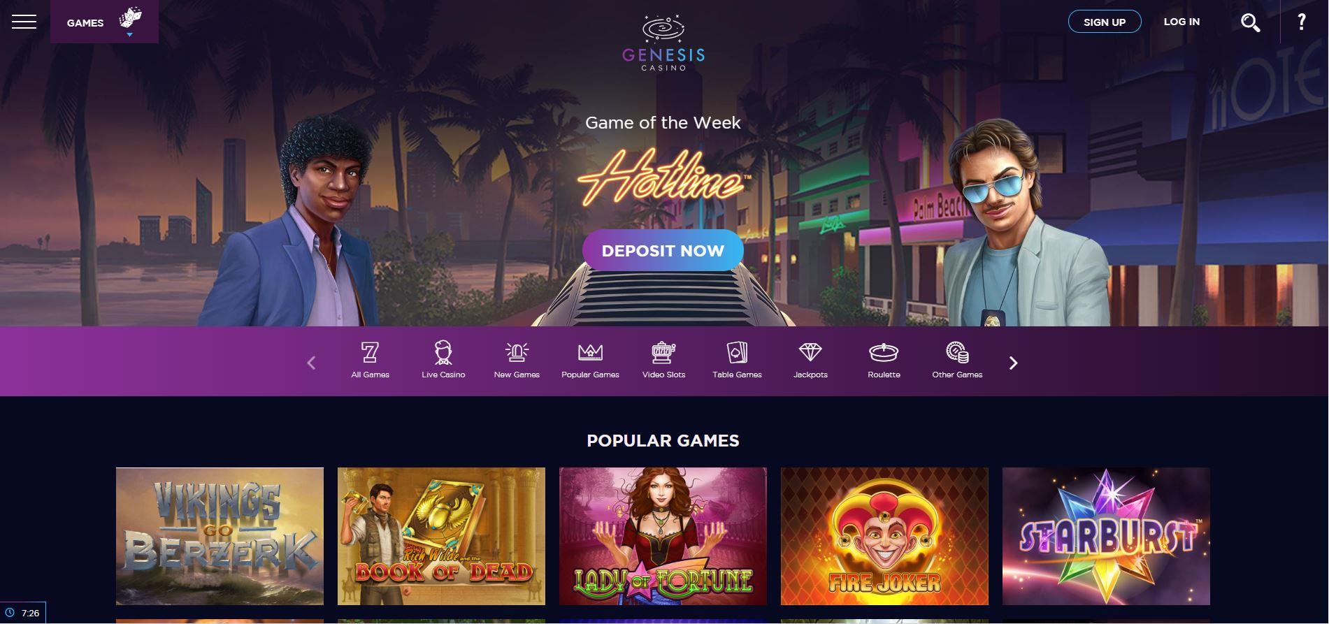 Genesis casino spelaanbod