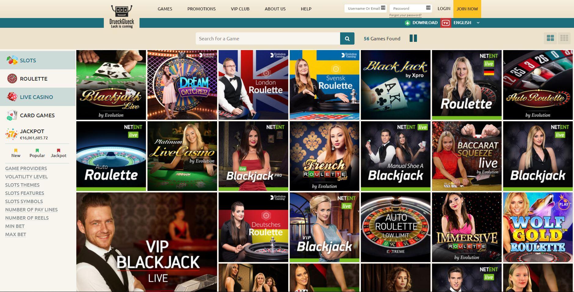 DrueckGlueck Casino lobby