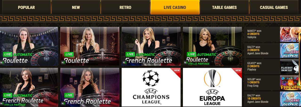 Argo Casino Live casino