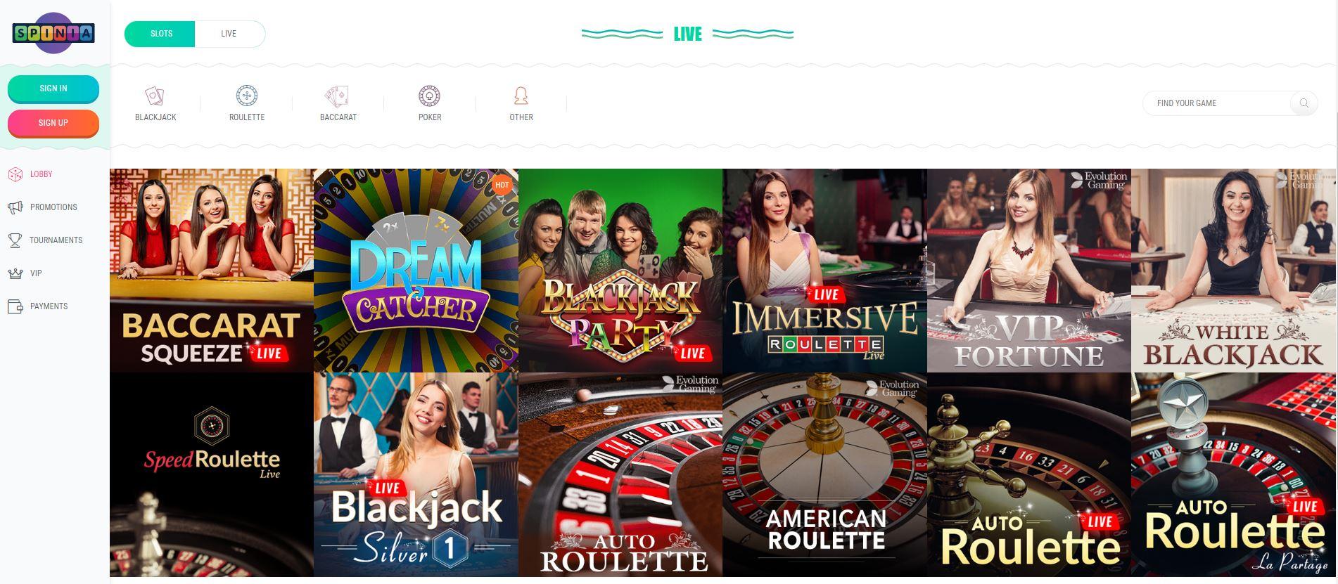 Spinia live casino