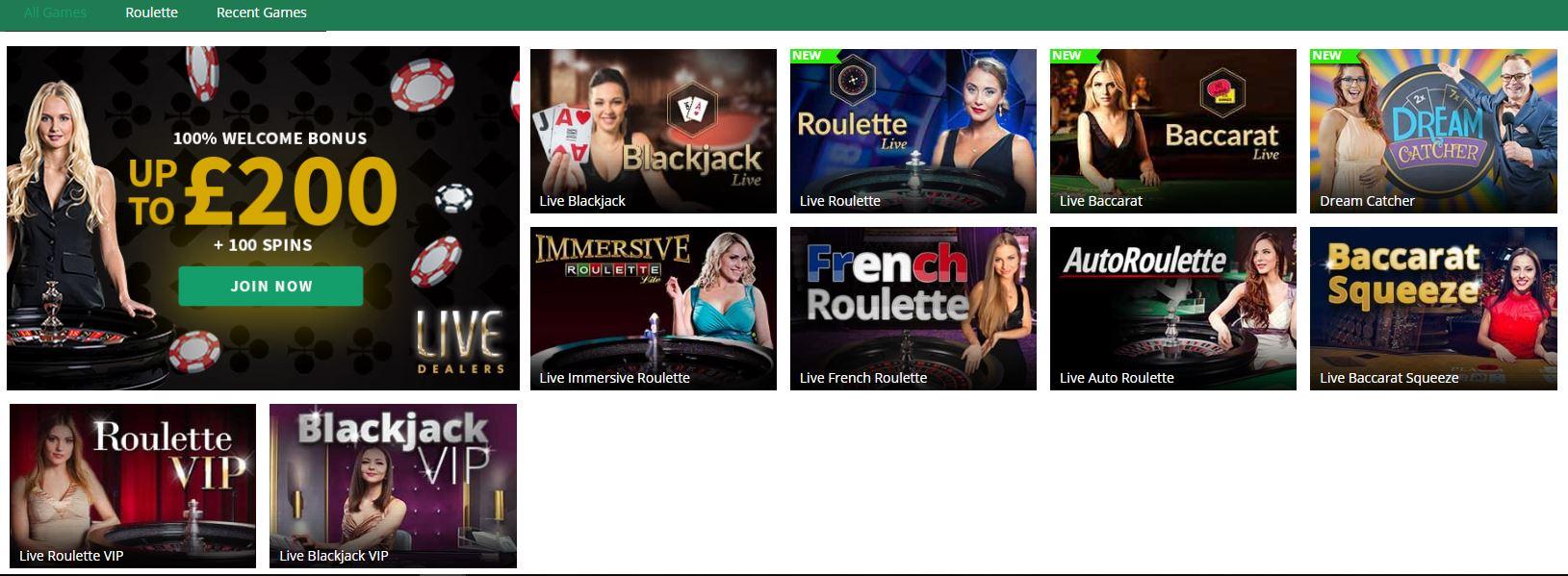 Toptally live casino