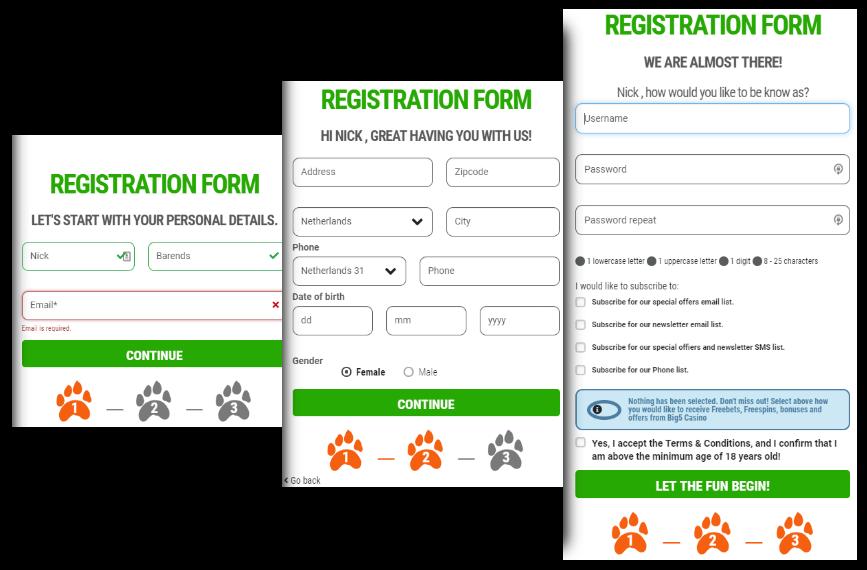 Big5Casino Registratie Formulier Stap 1-2-3
