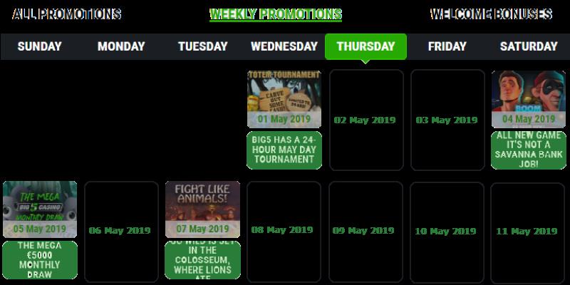 Big5 Casino Wekelijkse promoties