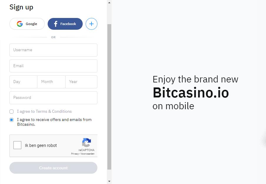 Sign up screen bitcasino