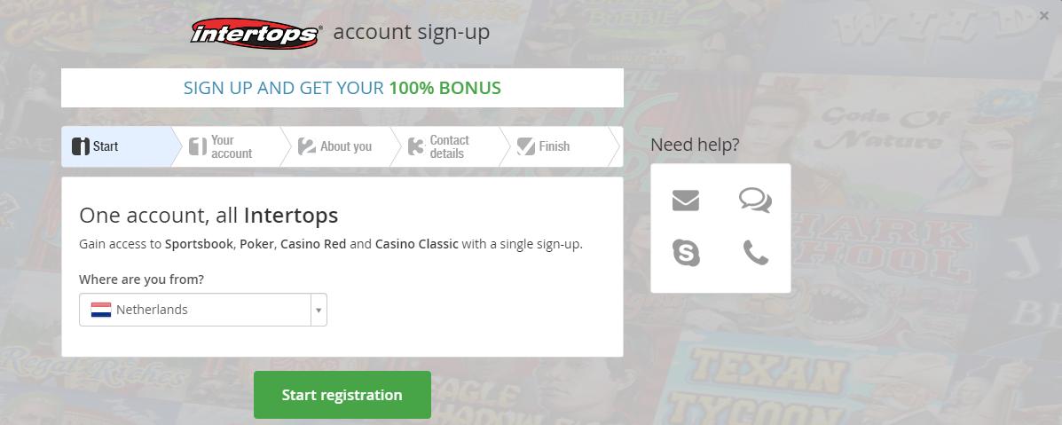 Registreer je makkelijk bij Intertops Casino
