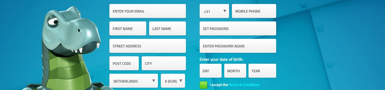 LuckyDino registratiescherm