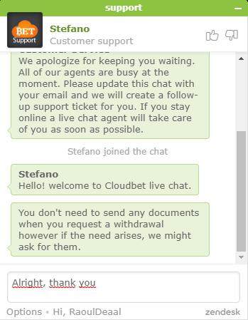 klantenservice cloudbet