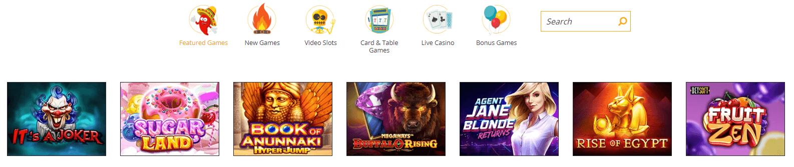 spicyspins casino games