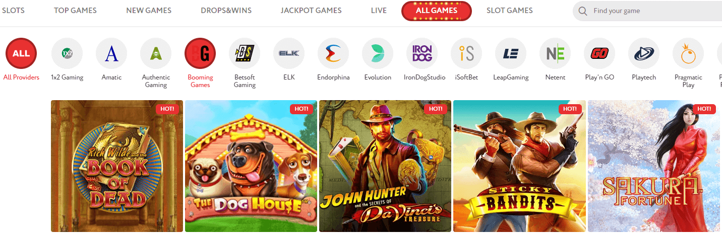 Slotwolf Casino games