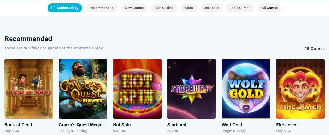 lucky days casino games