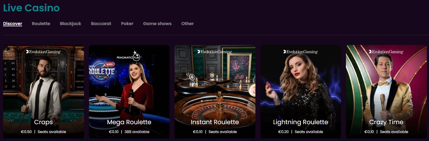 boom casino live games