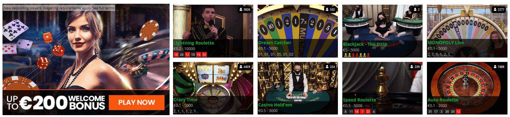 mrmega casino live games