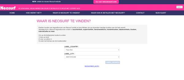 Neosurf Application Page Screenshot